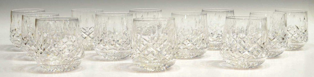 11: (12) WATERFORD LISMORE OLD FASHION GLASSES