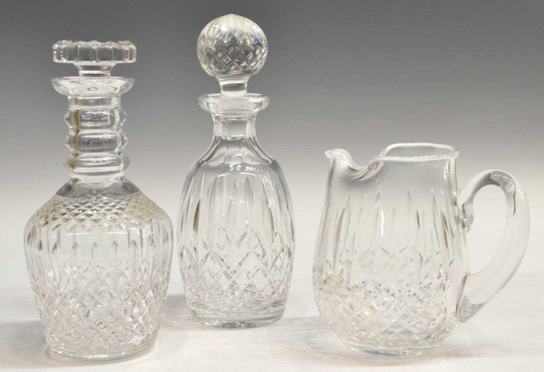 14: (3) DECANTERS & PITCHER INCLUDING WATERFORD