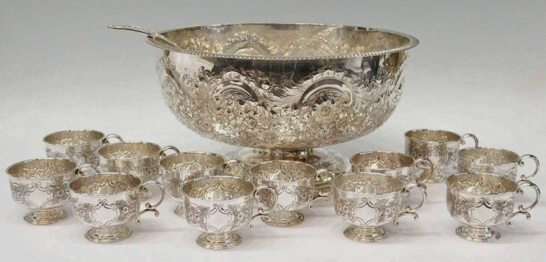 15: (14) SHEFFIELD SILVER PLATE PUNCH BOWL & CUPS