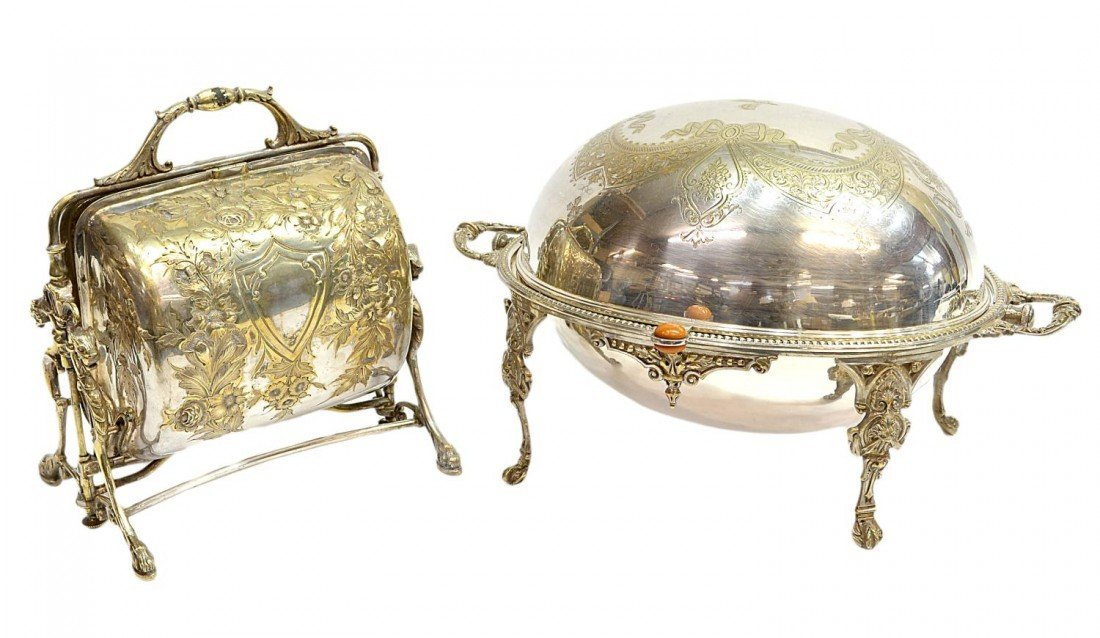 18: (2) CONTINENTAL DOMED WARMER & ORNATE MUFFINEER
