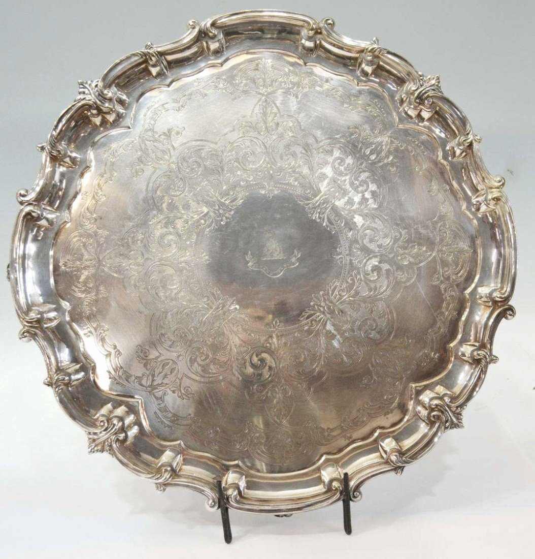 19: FINE & LARGE MAPPIN & WEBB SILVER PLATE SALVER