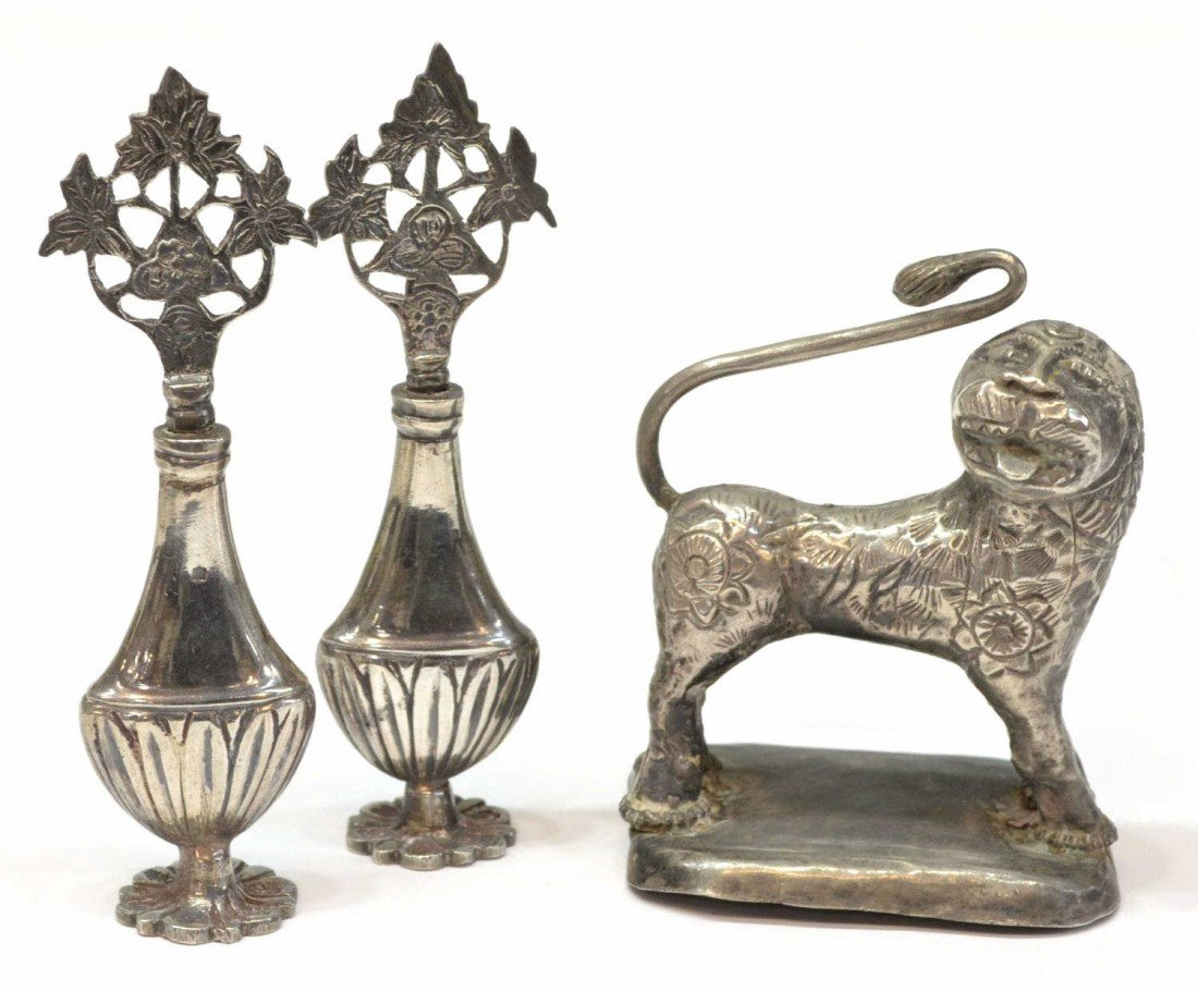 21: (3)MINIATURE EGYPTIAN SILVER BOTTLES & LION FIGURE