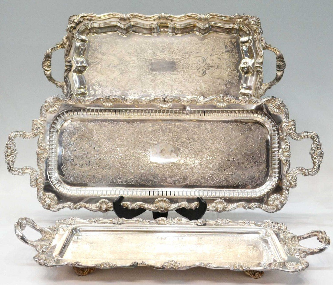23: (3) ORNATE & FANCY SILVER PLATE CHASED PLATTERS