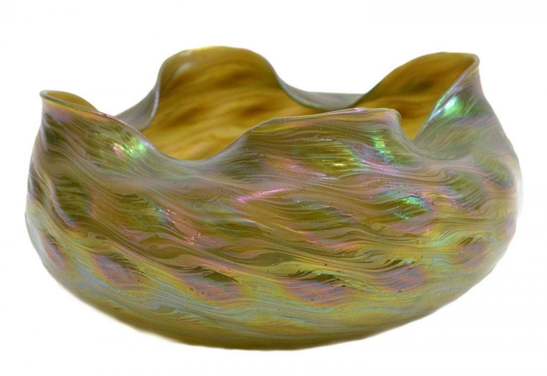 61: LARGE IRIDESCENT ART GLASS CENTER BOWL