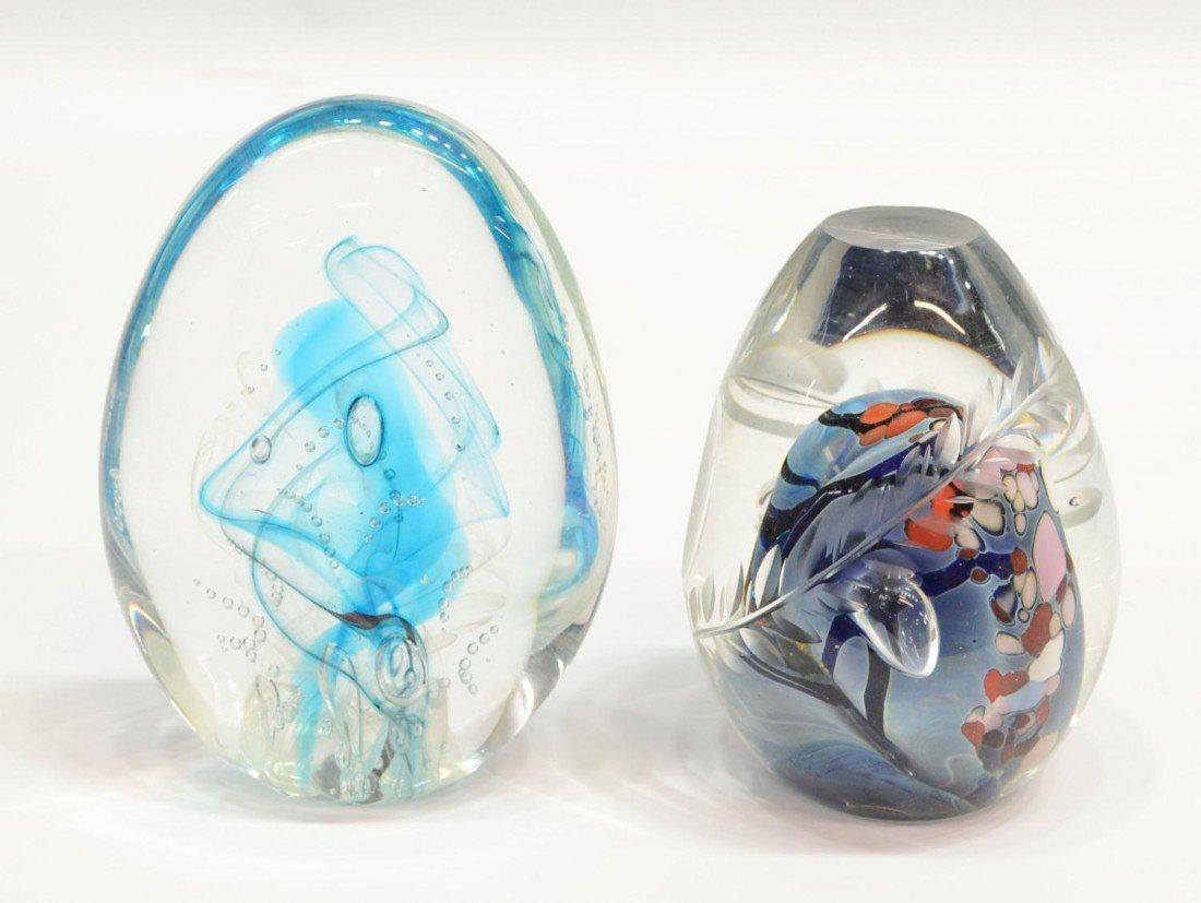 62: (2) ROLLIN KARG ART GLASS PAPERWEIGHT GROUP