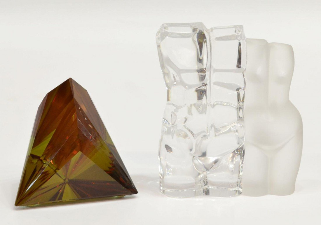 64: (2) DAUM MALE & FEMALE NUDE TORSO, ART GLASS PRISM