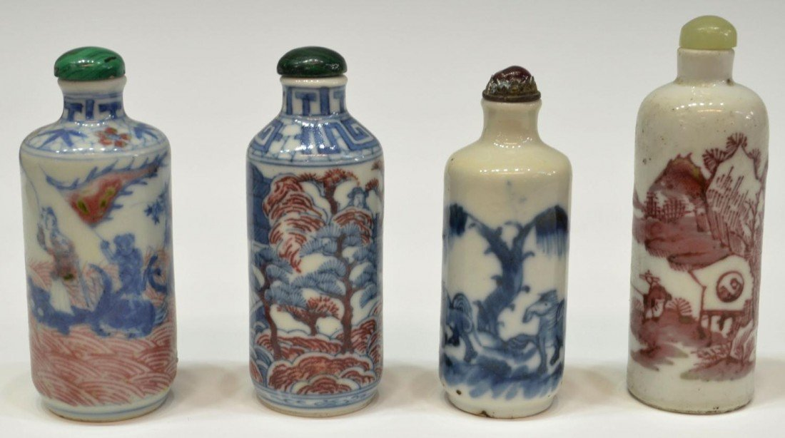 66: ANTIQUE CHINESE BLUE, WHITE & RED SNUFF BOTTLES