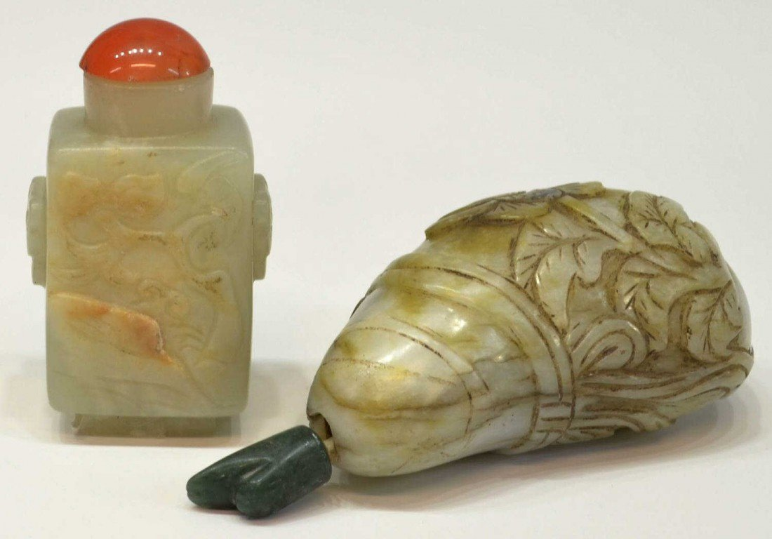 72: (2) CHINESE CARVED JADE SNUFF BOTTLES, GOURD