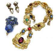 87 4 MIRIAM HASKELL NECKLACE EARRINGS BROOCH