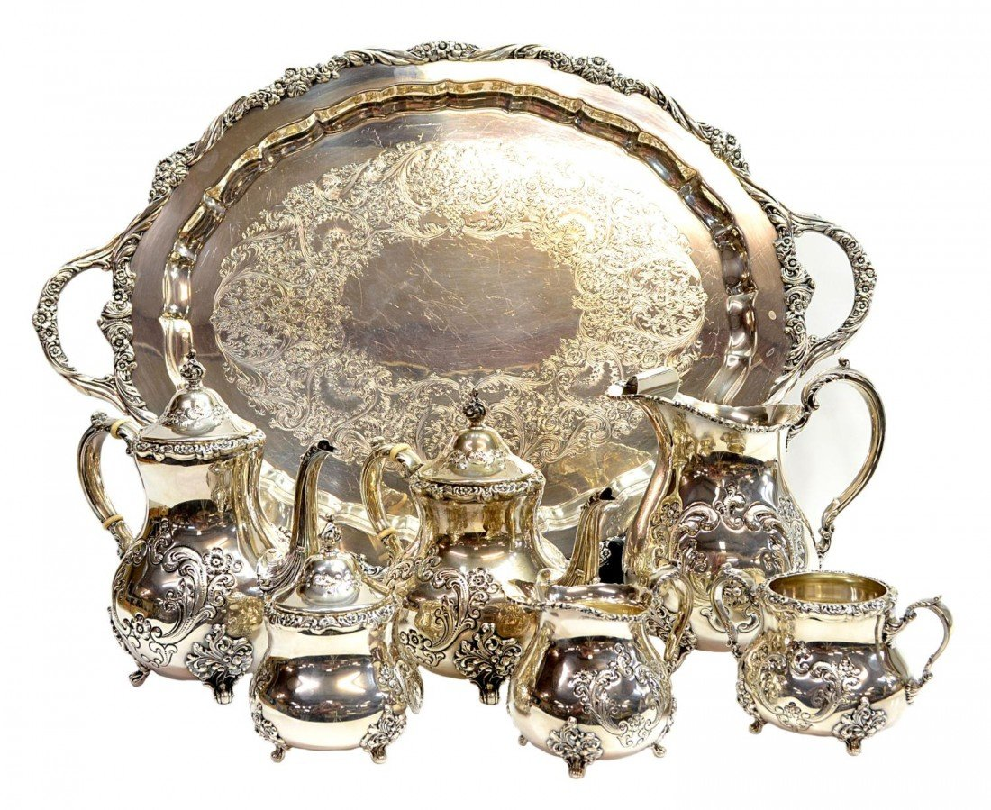296: POOLE OLD ENGLISH ROSE STERLING TEA/COFFEE SERVICE