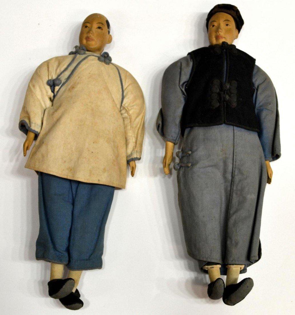 355: (2) CHINESE WOOD & CLOTH DOLLS, SHANGHAI, 1937