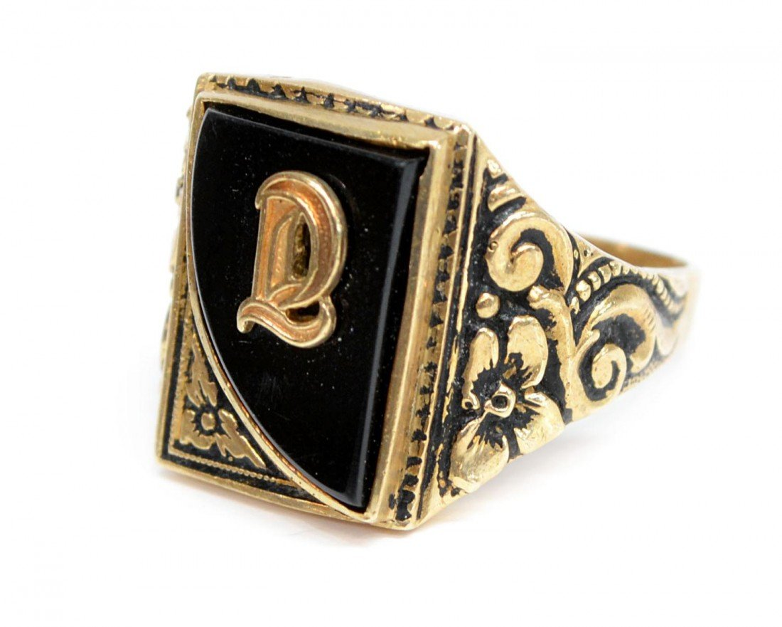 385: (3) VINTAGE 10KT GOLD RINGS, 1930 TULSA CLASS RING - 4