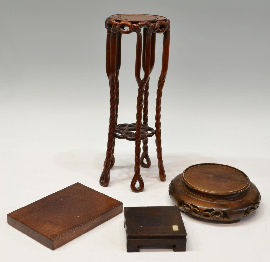 444: (23) GROUP OF CHINESE WOOD STANDS & PEDESTALS - 2