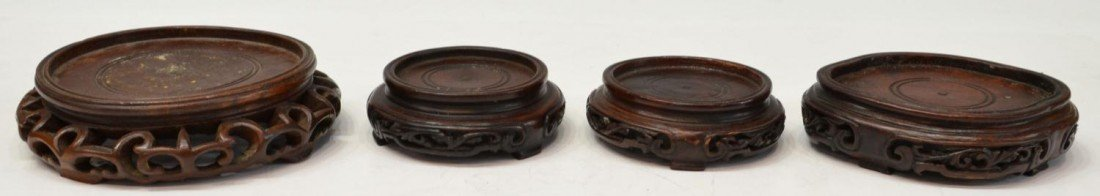 444: (23) GROUP OF CHINESE WOOD STANDS & PEDESTALS - 5