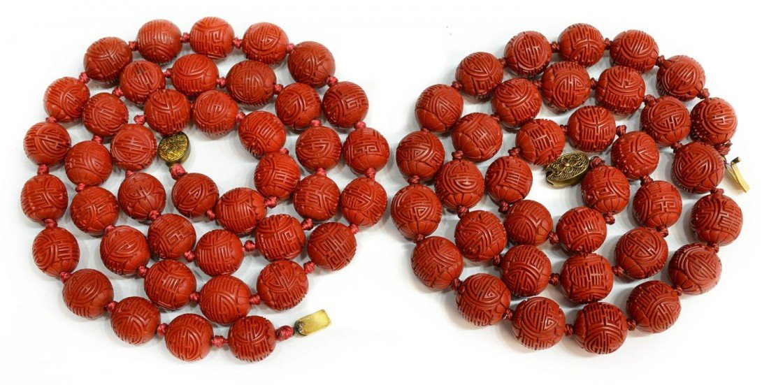 503: CHINESE CARVED CINNABAR BEAD NECKLACE