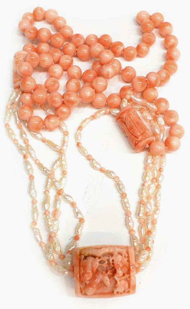504: CHINESE FIGURAL CARVED PINK CORAL & PEARL NECKLACE