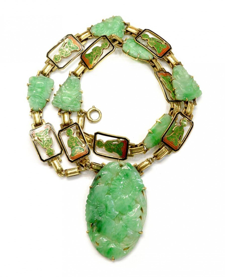 505: CHINESE 14KT GOLD, JADE, ENAMEL PLAQUE NECKLACE