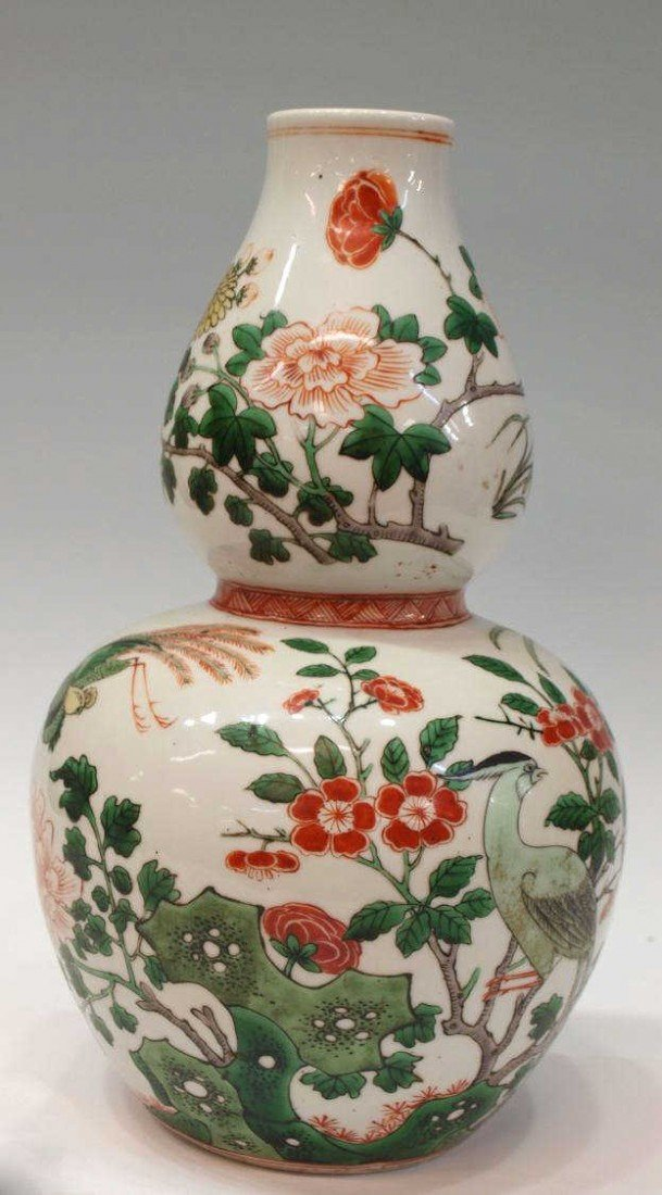 506: LARGE CHINESE QING DYNASTY DOUBLE-GOURD VASE