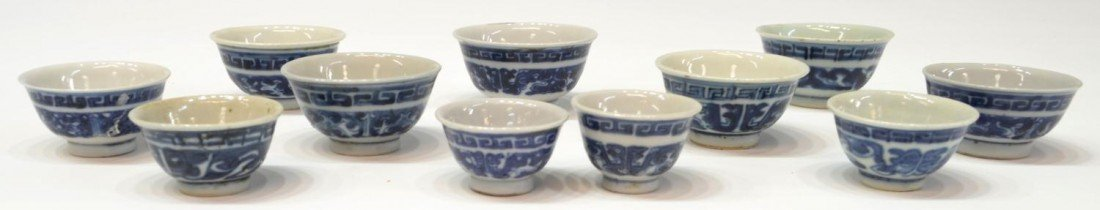 507: (11) CHINESE QING BLUE & WHITE PORCELAIN CUPS