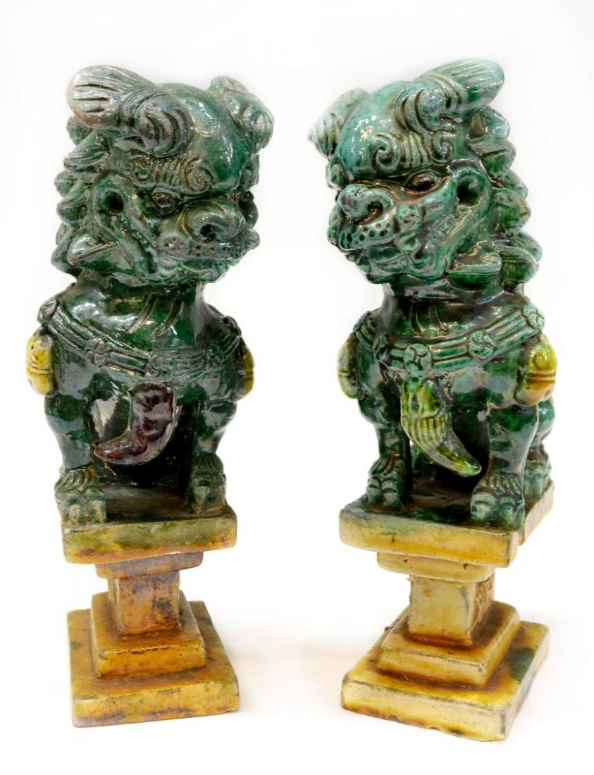 511: CHINESE GLAZED ROOF ORNAMENTS, FOO LIONS