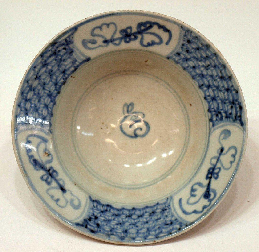 513: 19TH C. CHINESE BLUE & WHITE PORCELAIN RABBIT BOWL