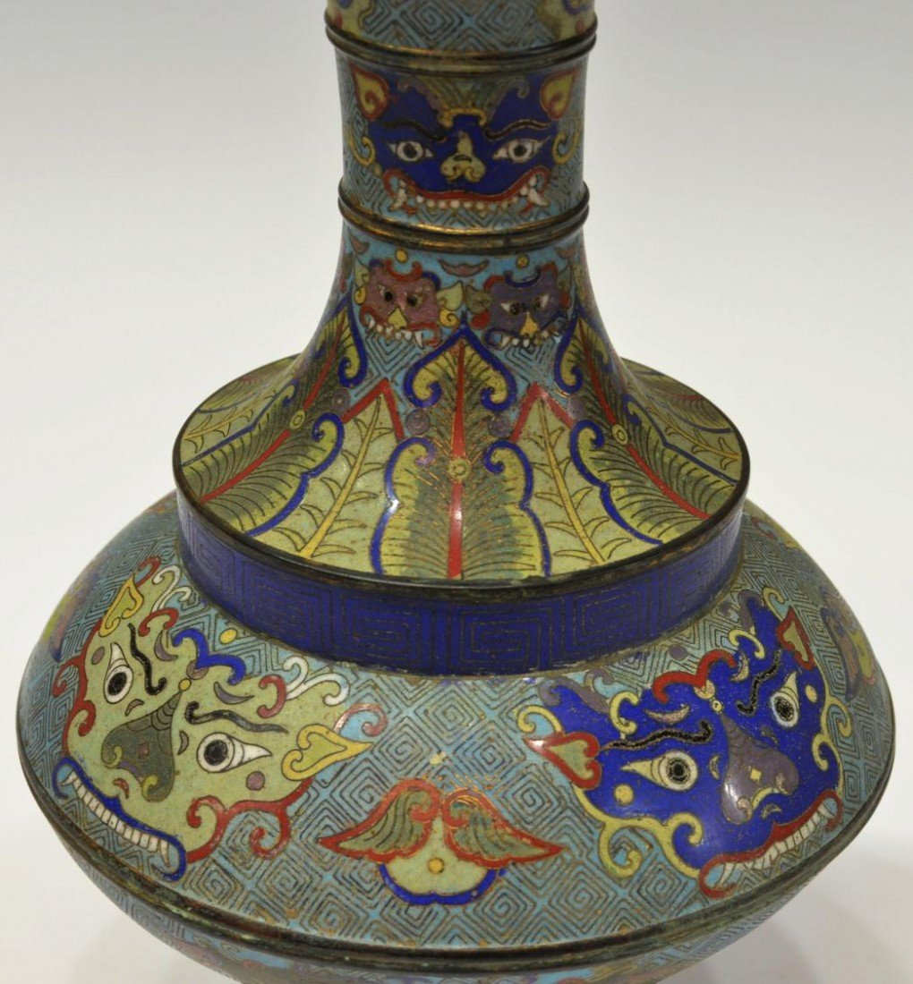 518: PAIR 19TH / 20TH C. CHINESE CLOISONNE ENAMEL VASES - 4