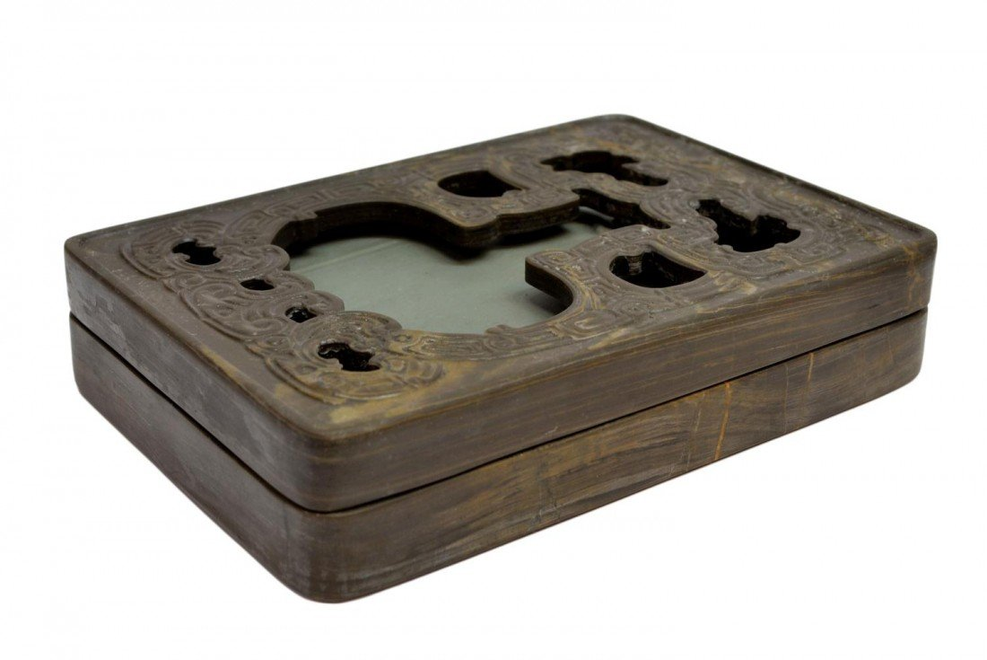 523: CHINESE CARVED INKSTONE & FITTED STONE BOX