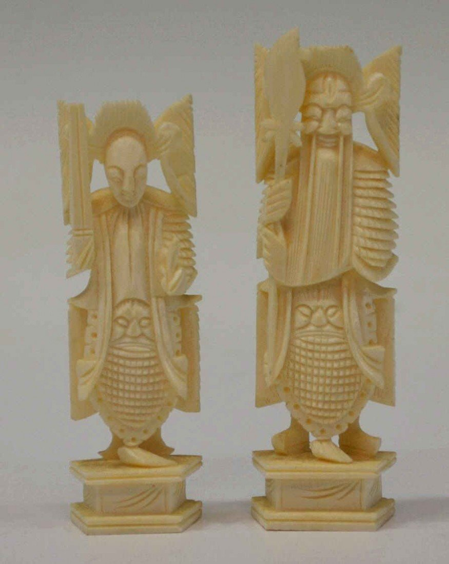 612: CHINESE CARVED IVORY CHESS SET - 4