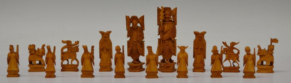 612: CHINESE CARVED IVORY CHESS SET - 5