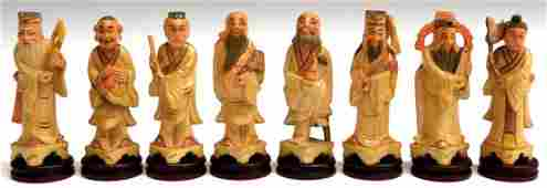 619 8 CHINESE CARVED WOOD EIGHT IMMORTAL FIGURES