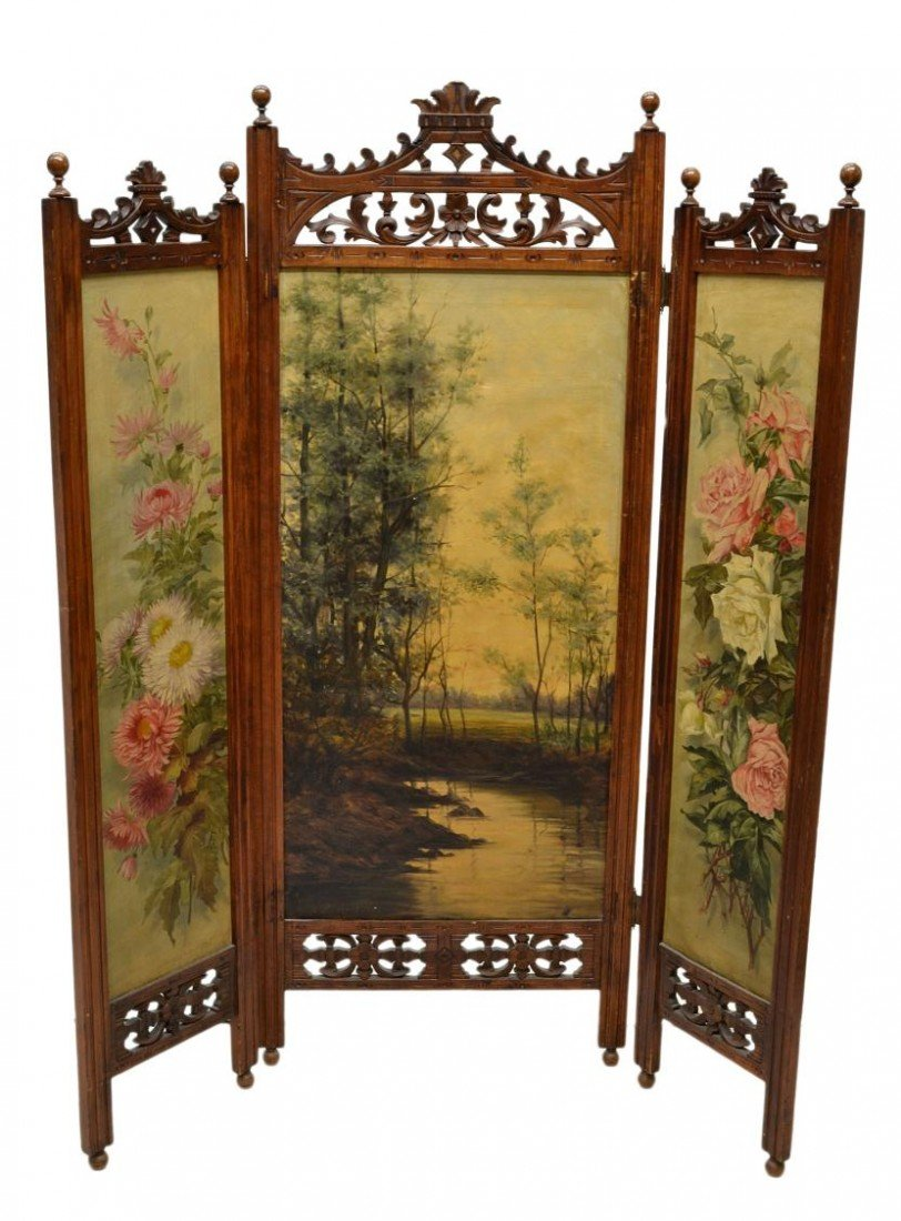 657: VICTORIAN DRESSING SCREEN, ARTIST SIGNED PAINTING