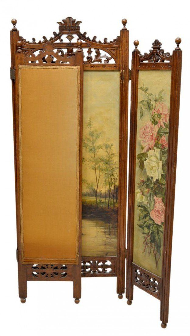 657: VICTORIAN DRESSING SCREEN, ARTIST SIGNED PAINTING - 6