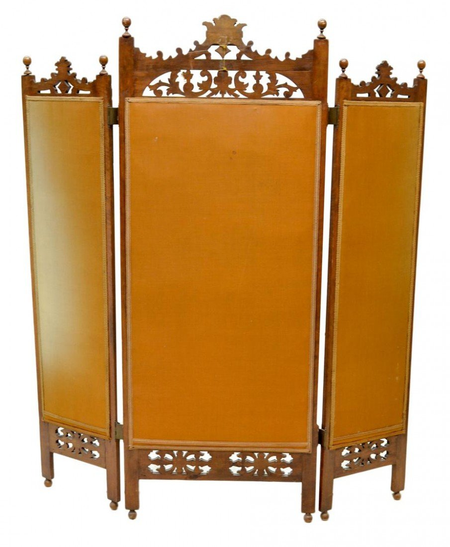 657: VICTORIAN DRESSING SCREEN, ARTIST SIGNED PAINTING - 7