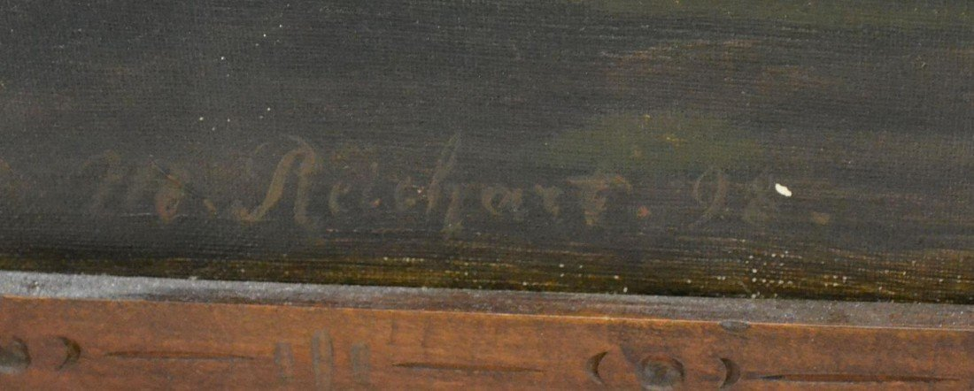 657: VICTORIAN DRESSING SCREEN, ARTIST SIGNED PAINTING - 8