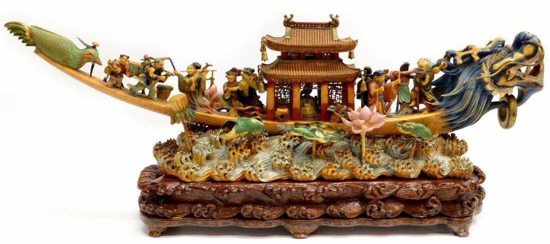 687: LARGE CHINESE POLYCHROME IVORY DRAGON BOAT