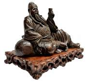 802: LARGE CHINESE CARVED WOOD FIGURE OF GUAN YU