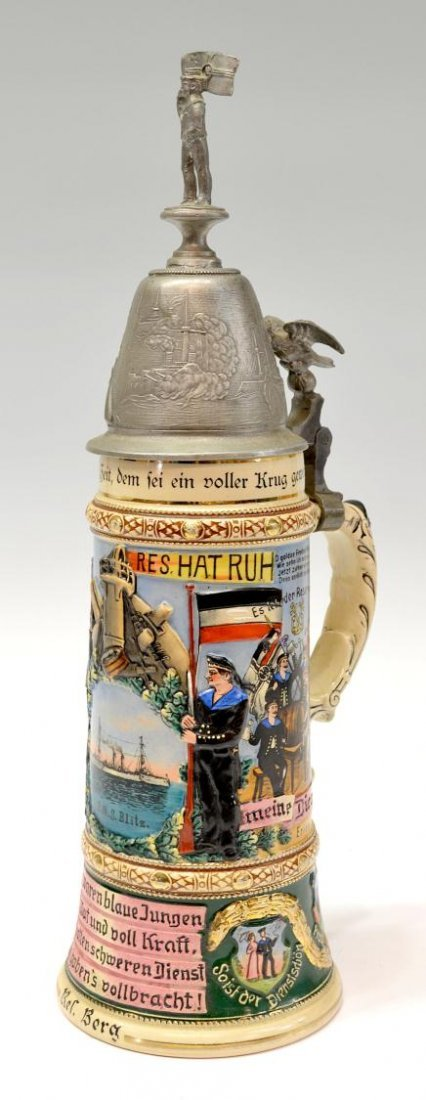 1: ANTIQUE LARGE GERMAN REGIMENTAL MARINE BEER STEIN