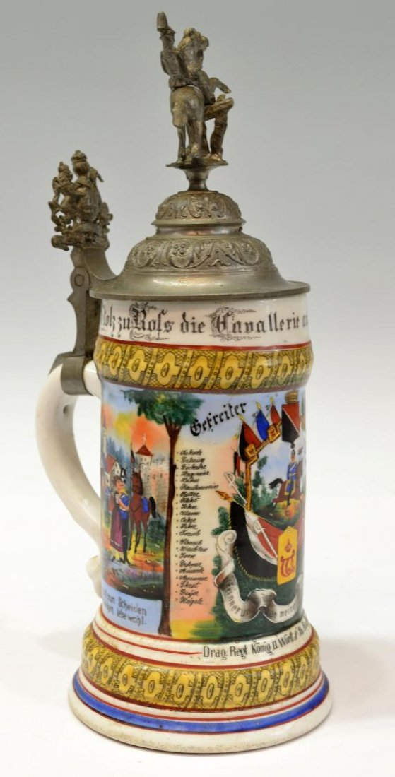2: ANTIQUE GERMAN REGIMENTAL LITHOPHANE BEER STEIN