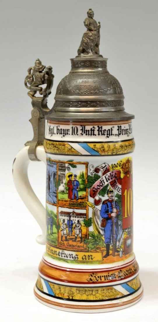 3: ANTIQUE BAVARIAN REGIMENTAL LITHOPHANE BEER STEIN