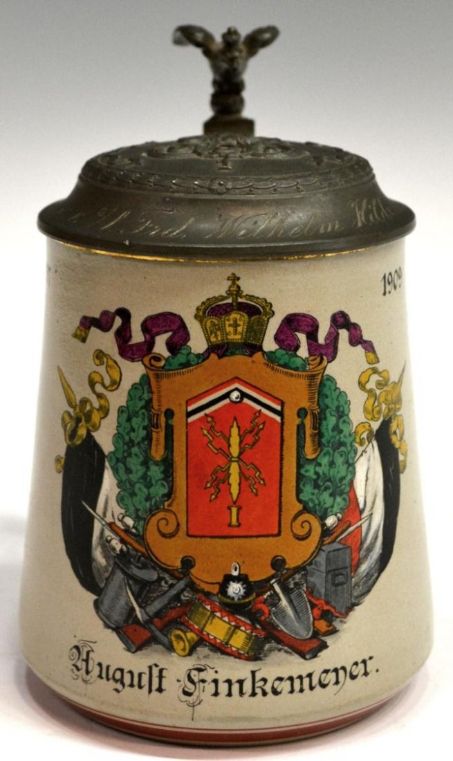5: GERMAN REGIMENTAL STONEWARE BEER STEIN