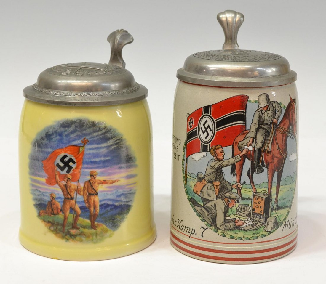 7: (2) GERMAN THIRD REICH MILITARY BEER STEINS, NAZI