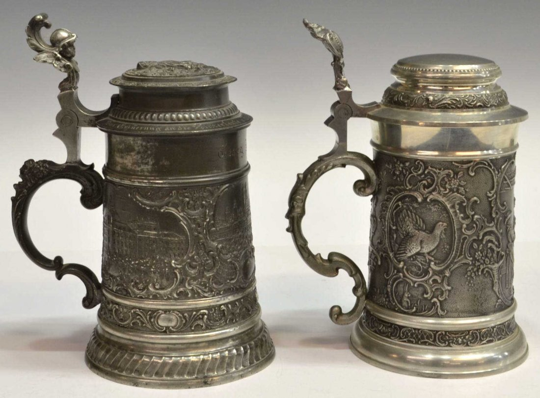 9: (2) 1905 GERMAN PEWTER & SILVER TONE METAL STEIN