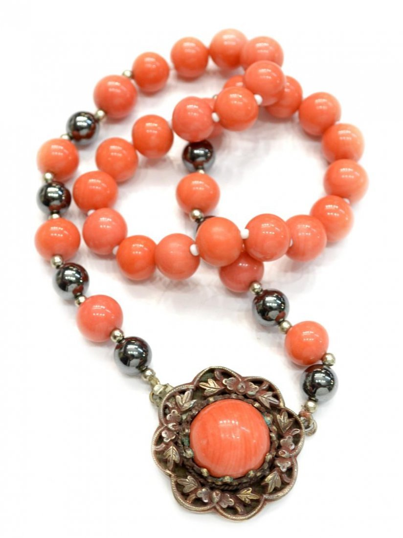 13: CHINESE CORAL & SILVER NECKLACE, ENAMEL FISH - 4