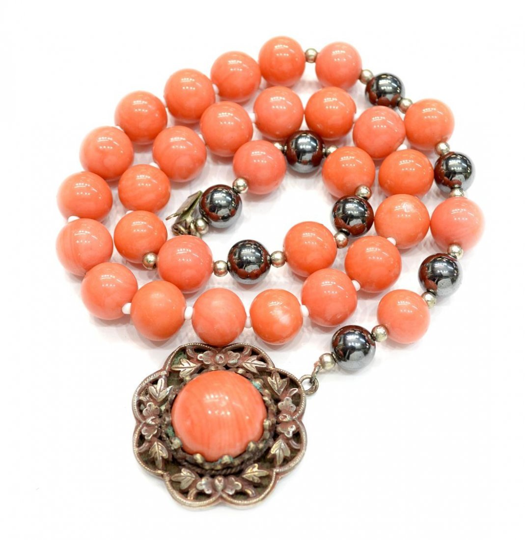 13: CHINESE CORAL & SILVER NECKLACE, ENAMEL FISH - 5