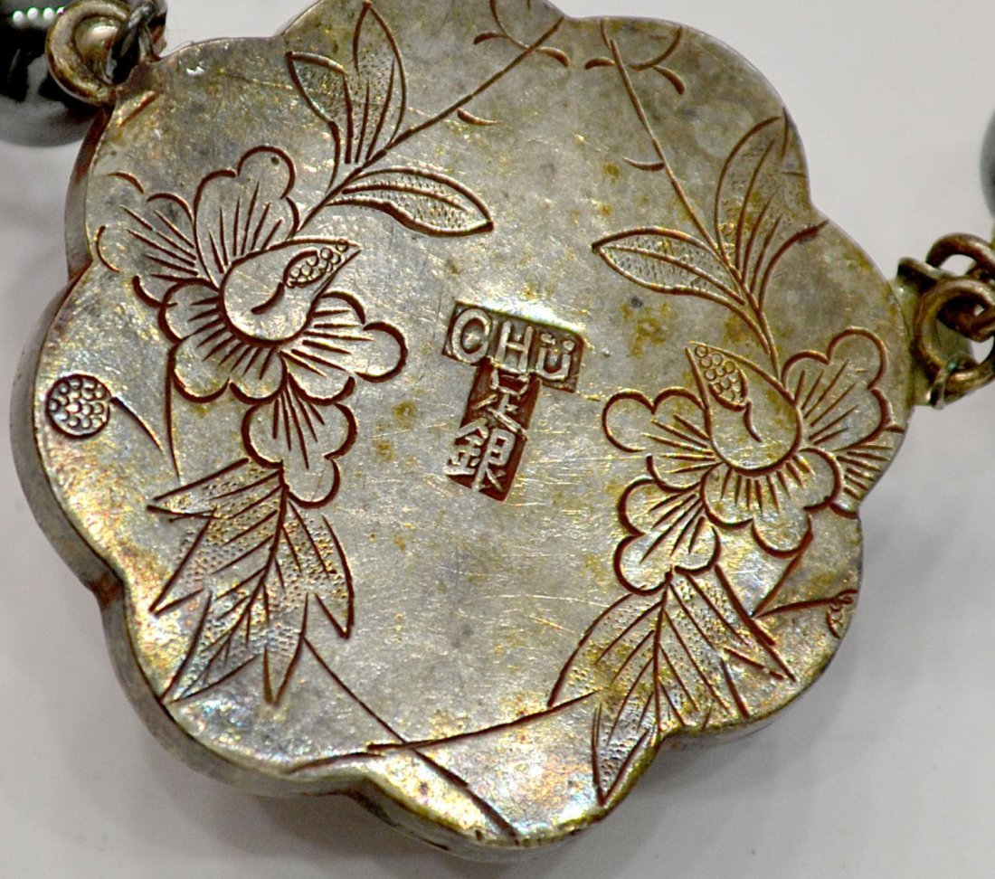 13: CHINESE CORAL & SILVER NECKLACE, ENAMEL FISH - 6