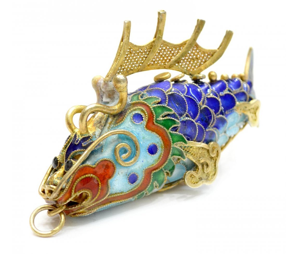 13: CHINESE CORAL & SILVER NECKLACE, ENAMEL FISH - 7