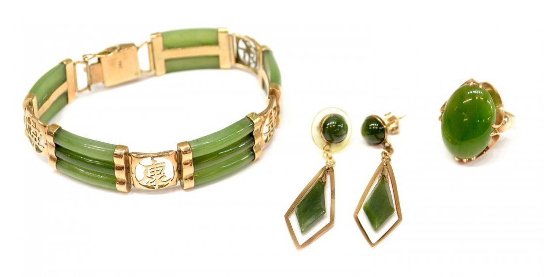 15: (4) CHINESE & OTHER JADE & GOLD JEWELRY GROUP