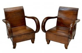 (PAIR) FRENCH COLONIAL ART DECO CARVED LOW CHAIRS