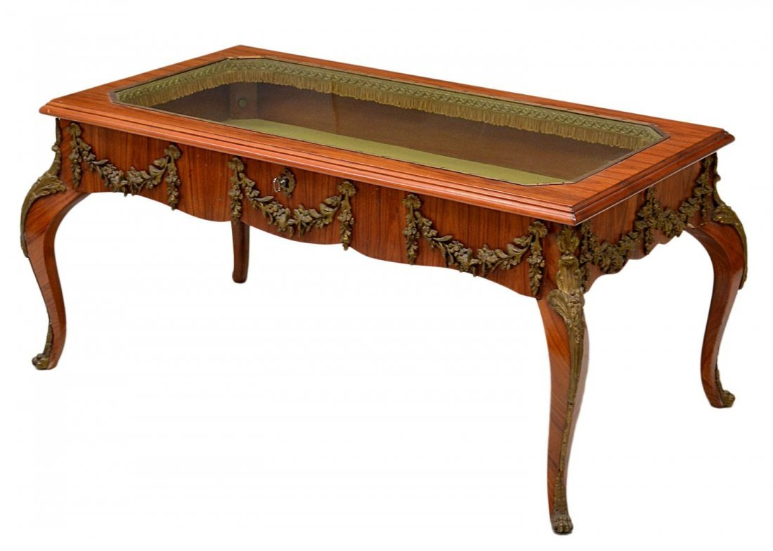 51: LOUIS XV STYLE BRONZE MOUNTED DISPLAY TABLE