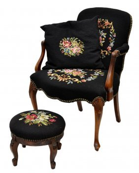 LOUIS XV STYLE NEEDLEPPOINT ARM CHAIR & STOOL